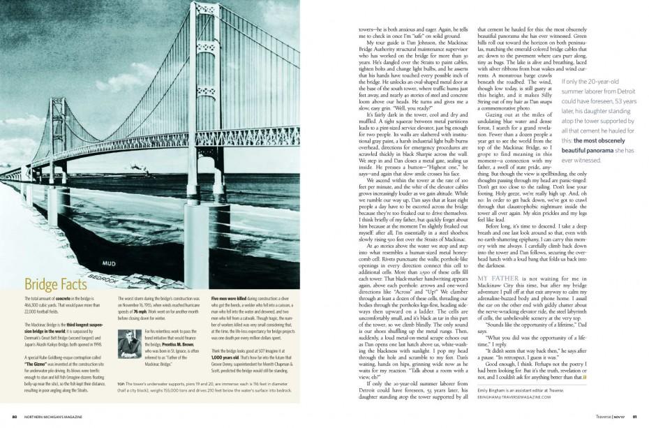 traverse northern michigan magazine historic mackinac bridge construction